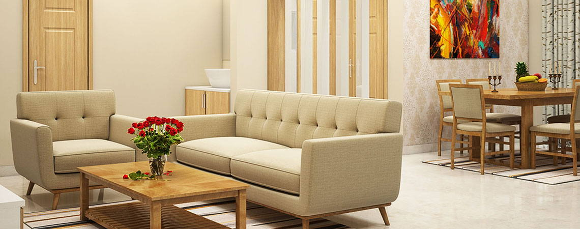 Living Room Interior Design with Sofa, Tv Unit, Coffee Table and Partitions